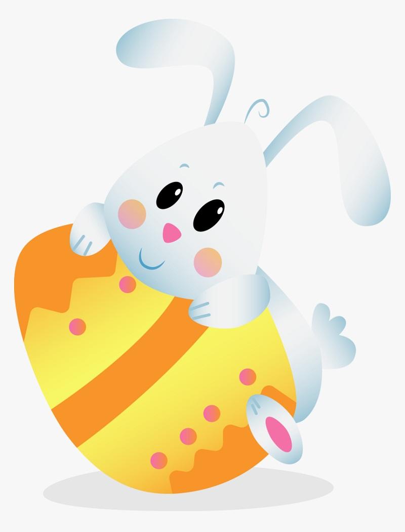 cute bunny holding egg