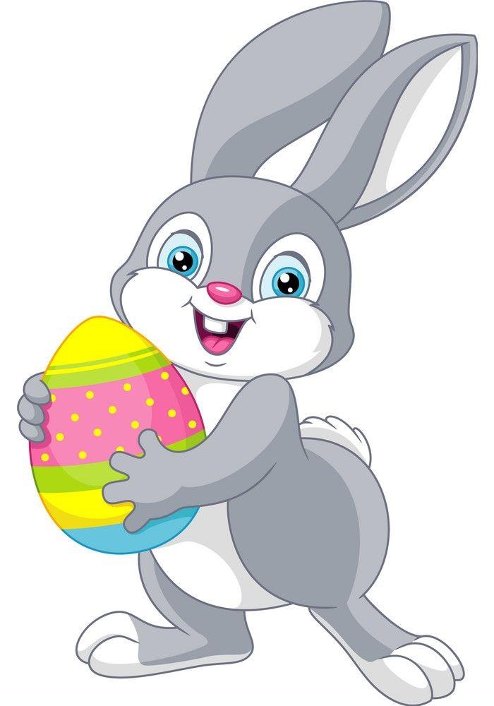 grey bunny holding egg