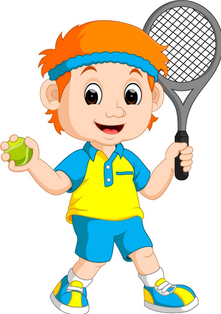 a boy playing lawn tennis