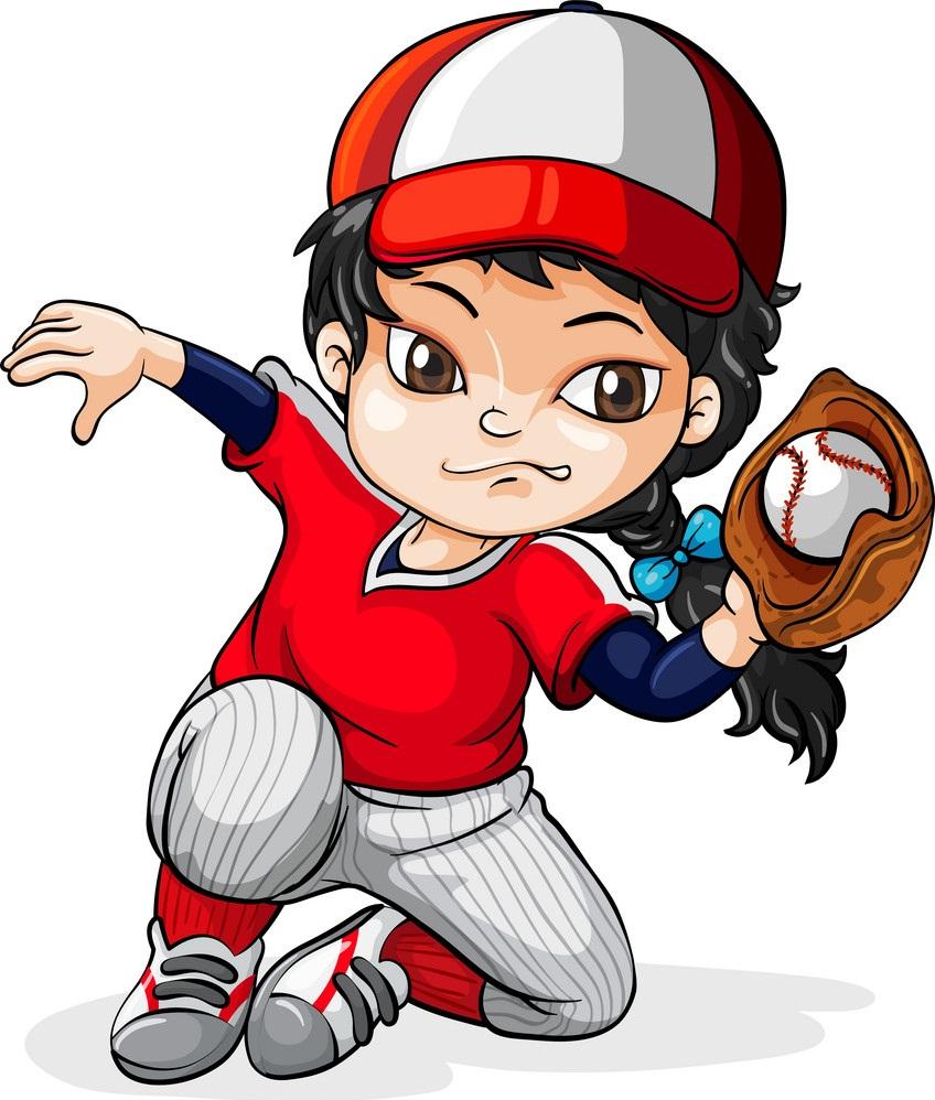 a female asian baseball player