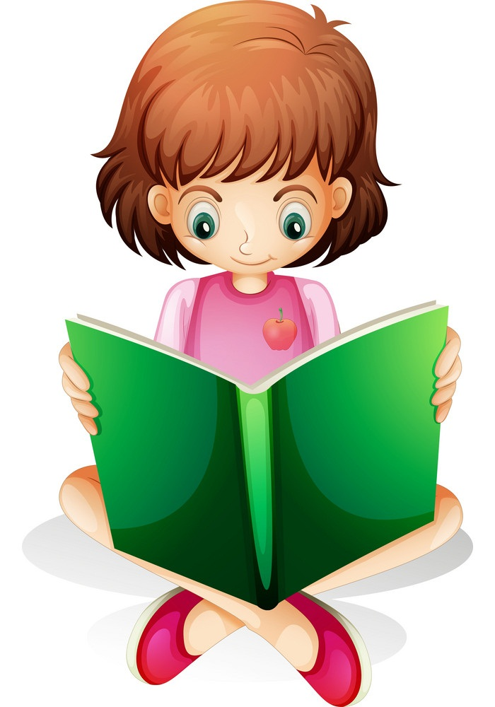 a young girl reading a green book