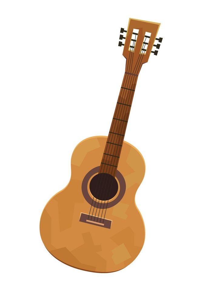 Vector of acoustic guitar in cartoon style isolated