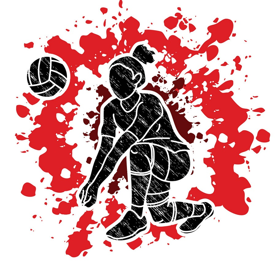 action woman playing volleyball graphic