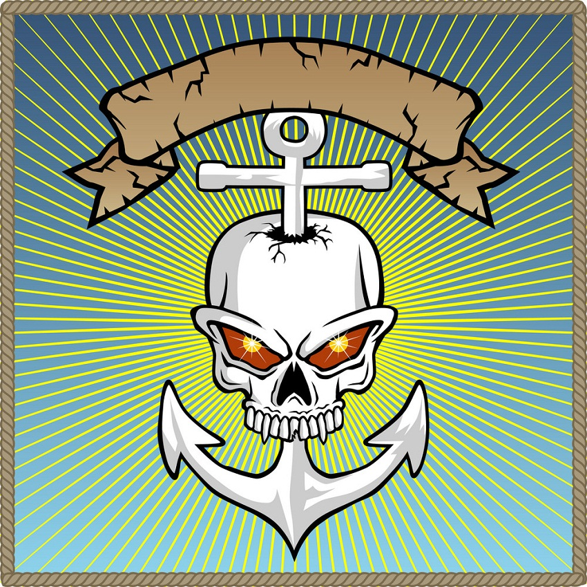 anchor skull with banner
