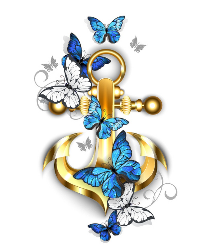 anchor with butterflies