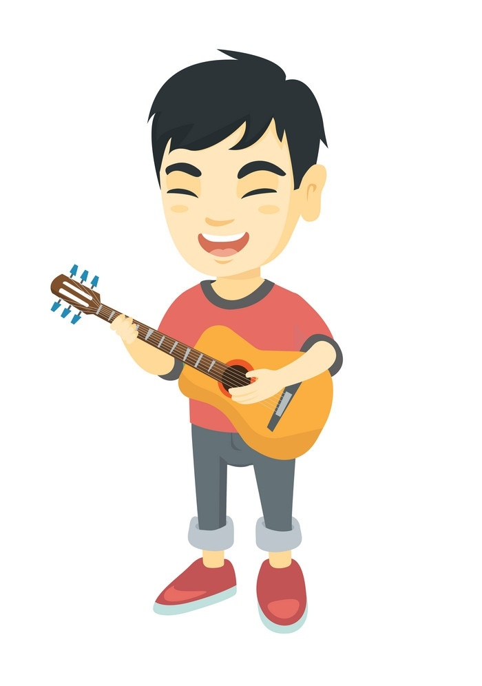 Asian boy singing and playing acoustic guitar