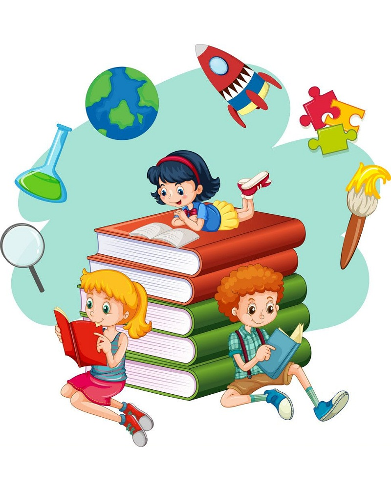 kids with world of books