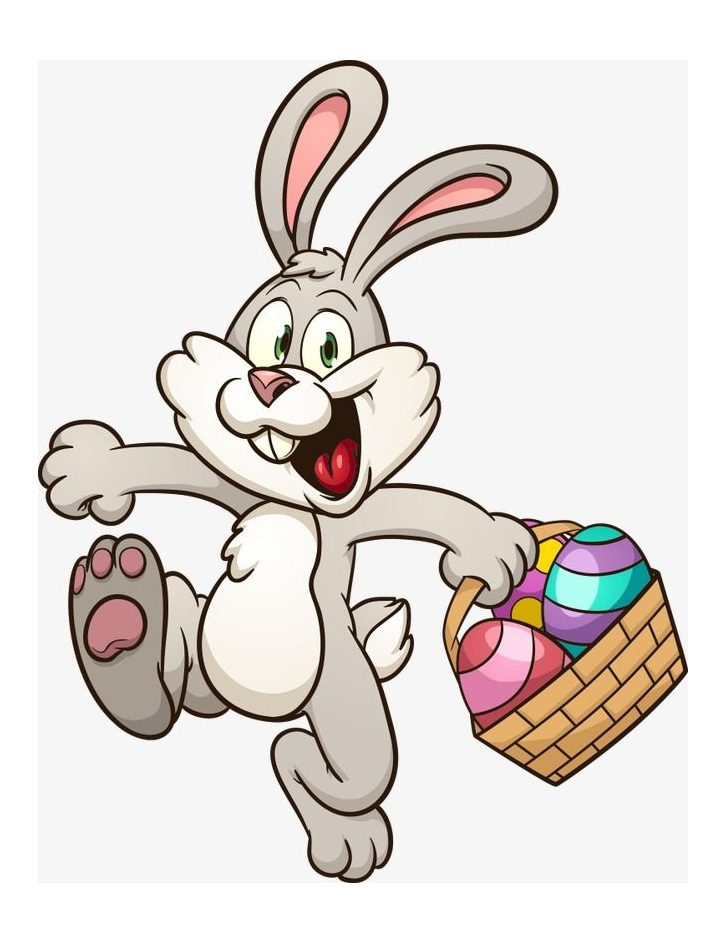 happy easter bunny with eggs basket