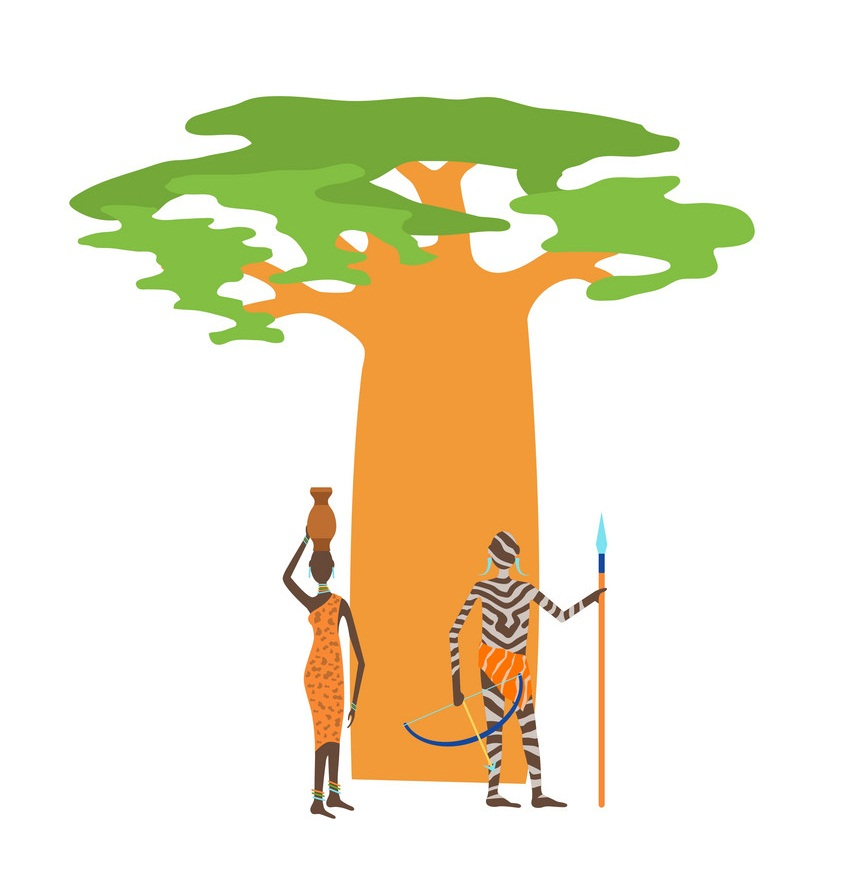 baobab with natives