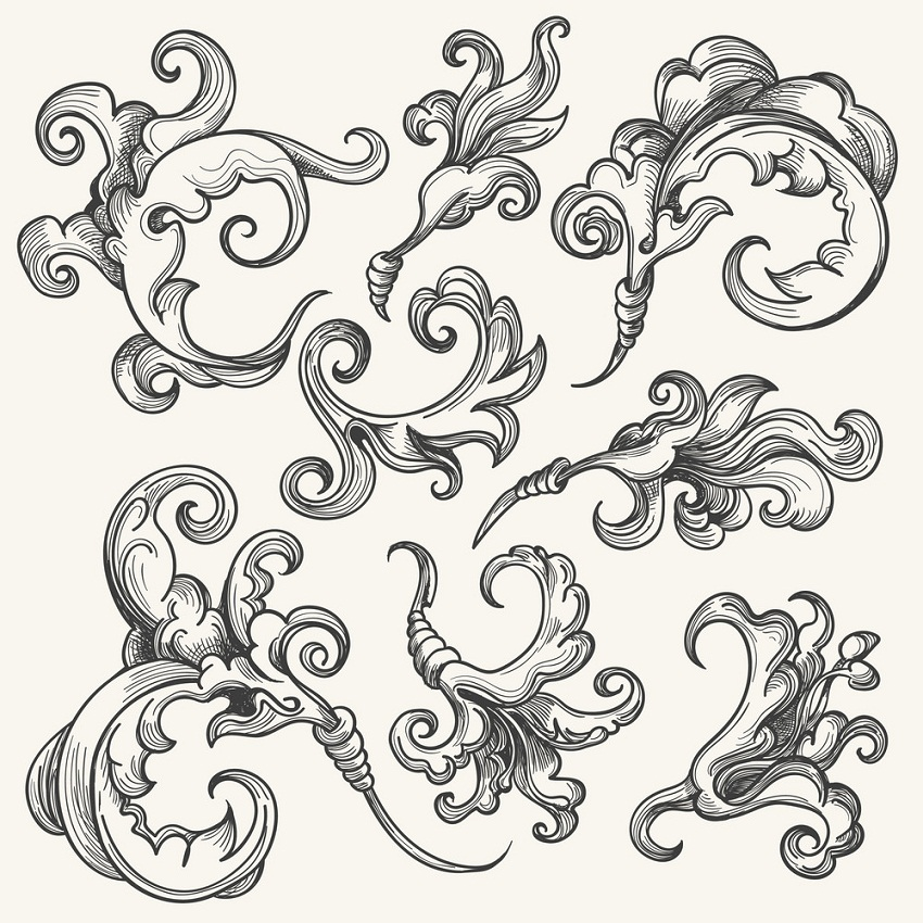 baroque swirl design element