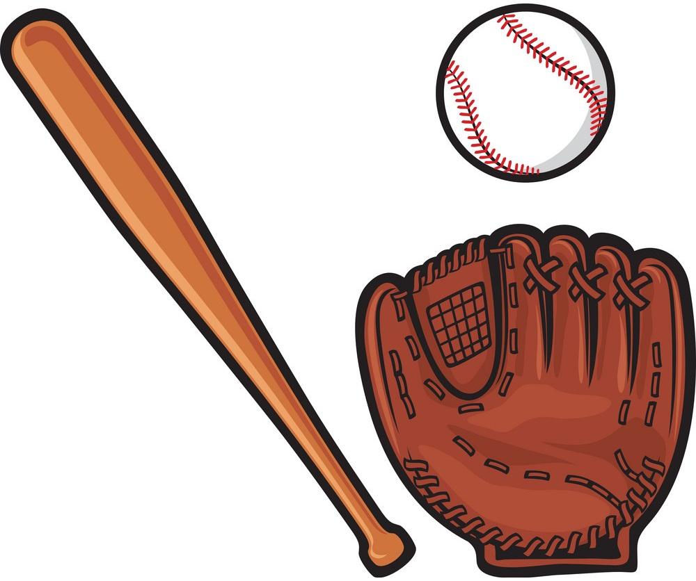 baseball ball, glove and bat