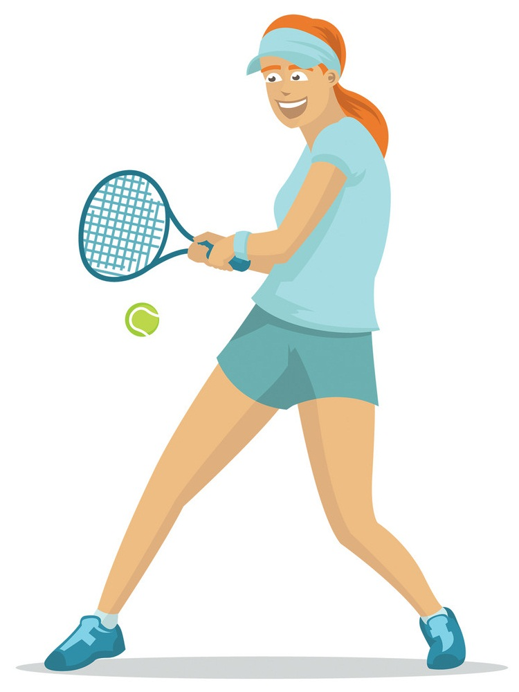 happy lady playing tennis