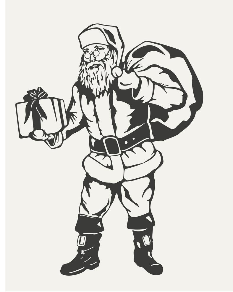 black and white christmas santa