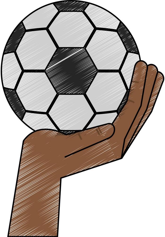 black hand holding soccer ball