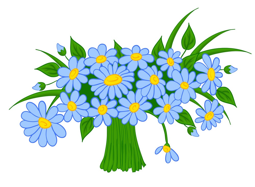 bouquet of blue daisies