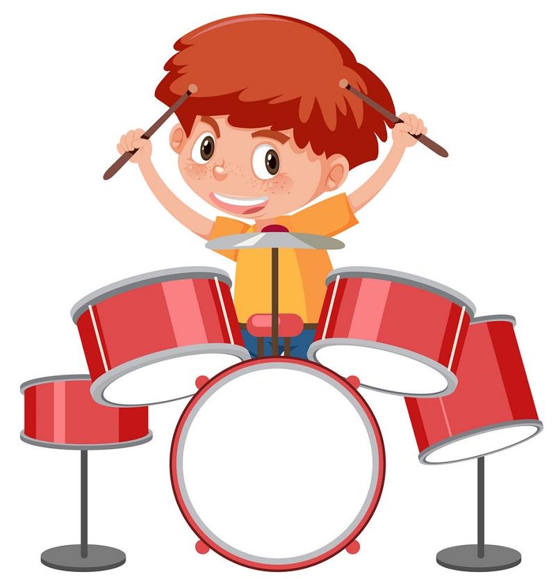 boy with drum set