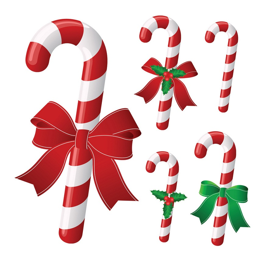 candy cane collection with ribbon