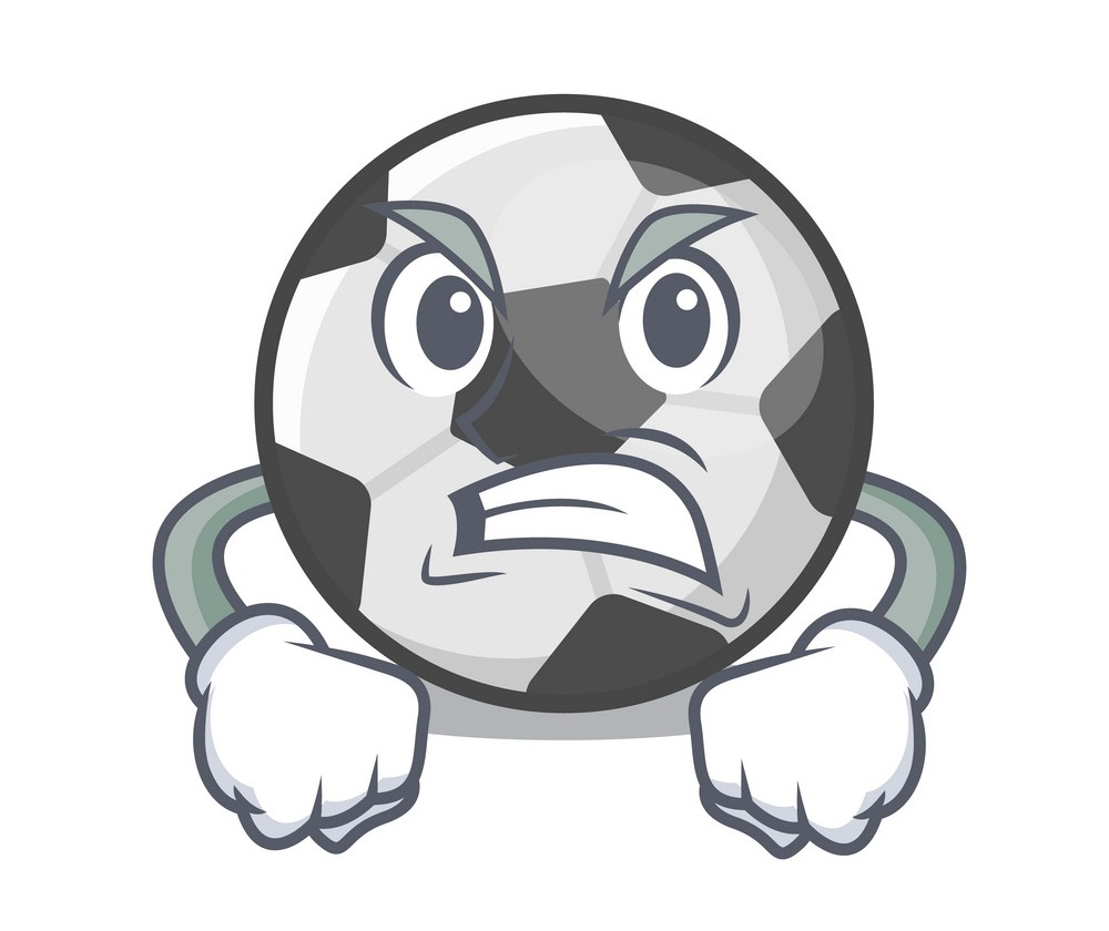 cartoon angry soccer ball