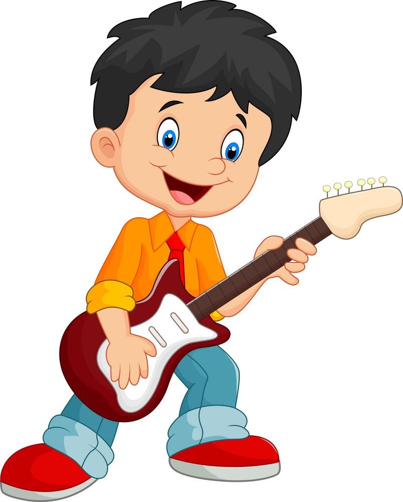 cartoon child plays guitar