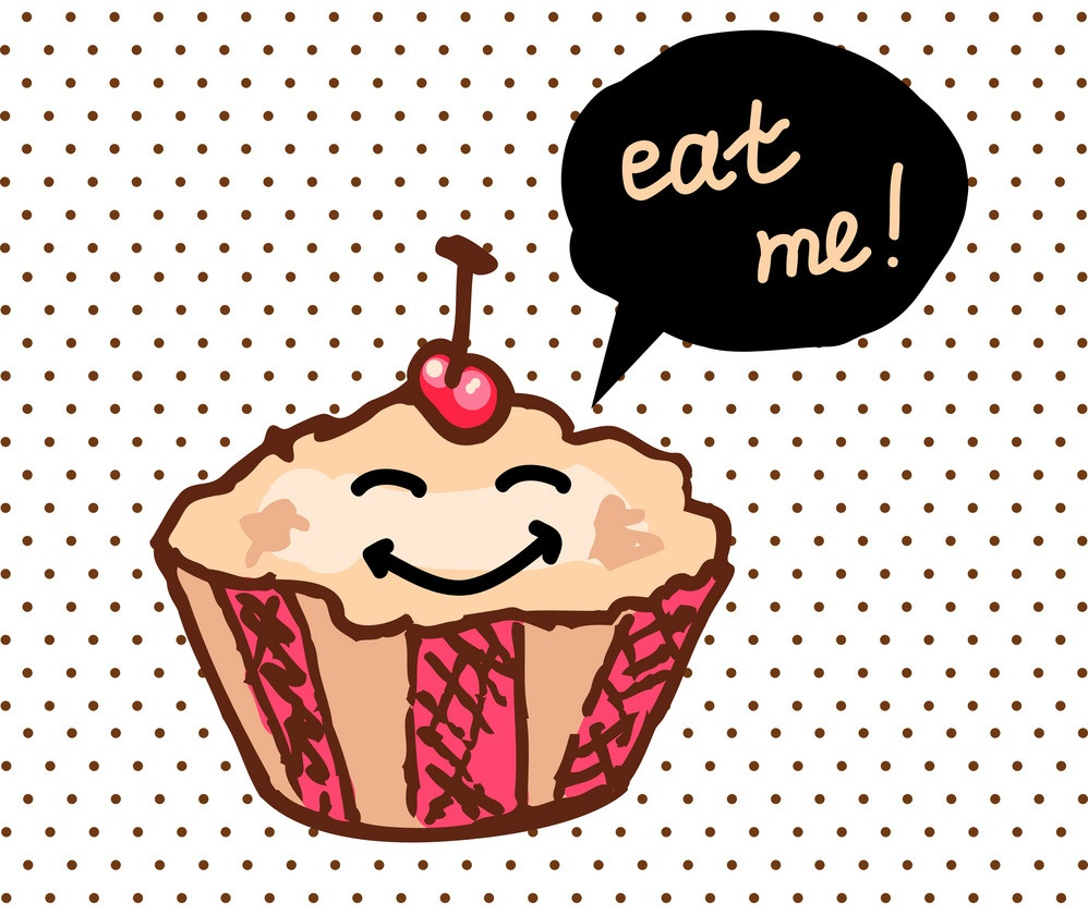 cartoon cupcake says eat me