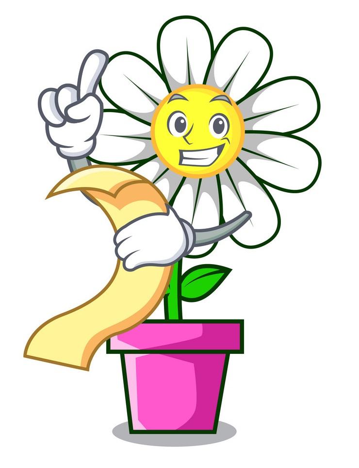 cartoon daisy holding a menu