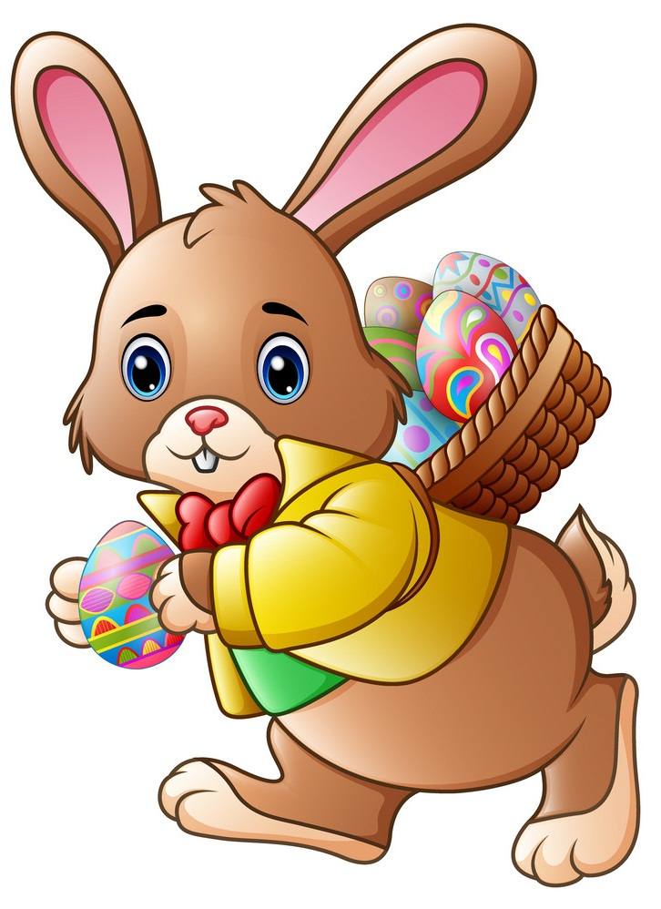 easter bunny carrying a full basket of eggs