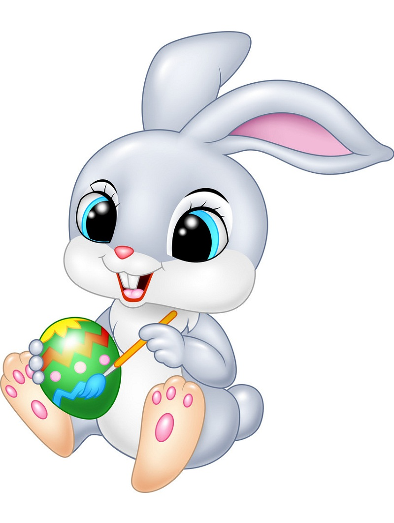 funny easter bunny painting an egg