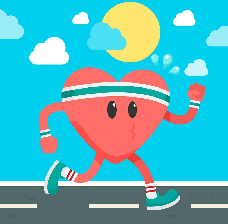 cartoon heart running