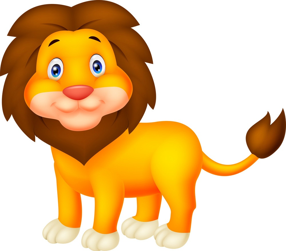 lion standing and smiling