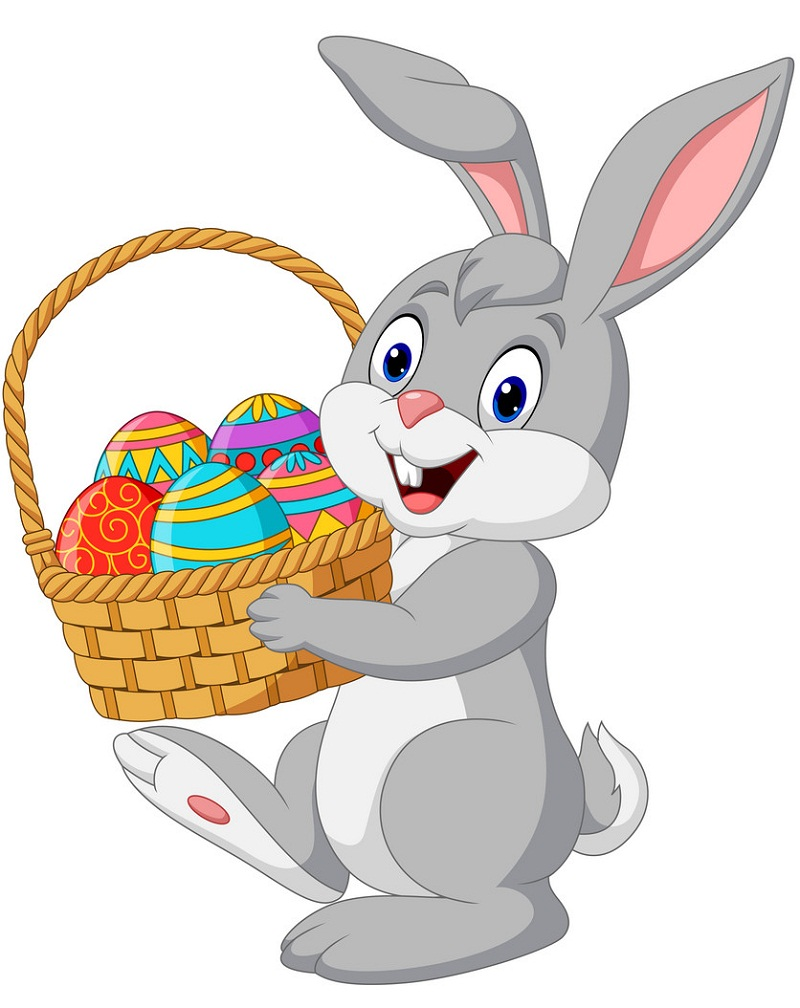 smiling bunny with basket of easter eggs