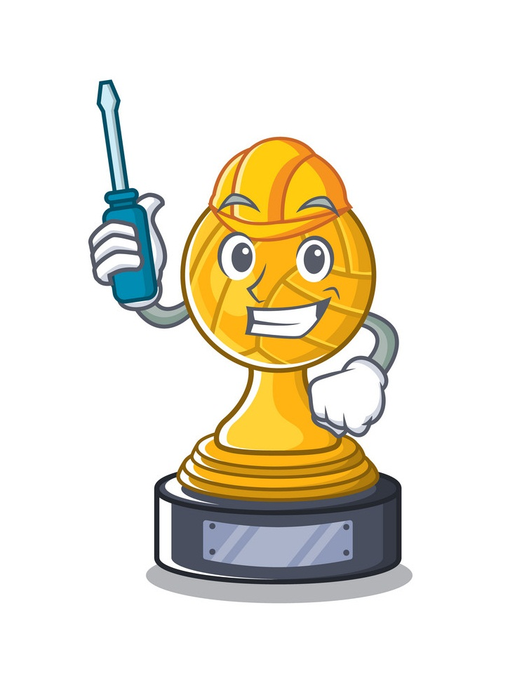 cartoon volleyball trophy
