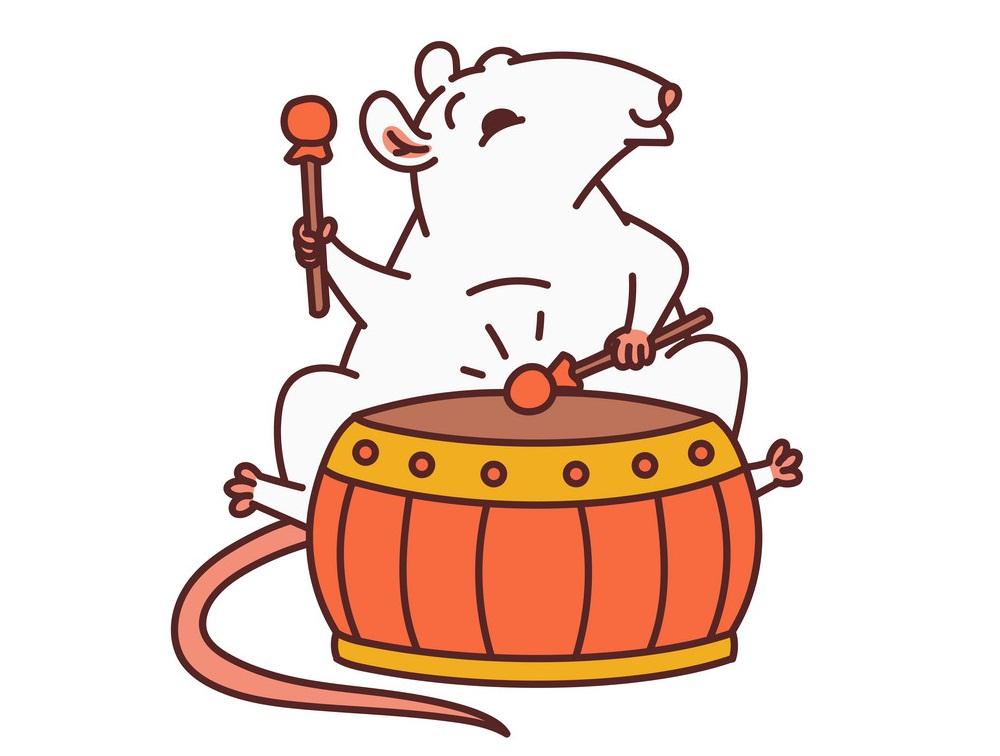 chinese rat playing drum