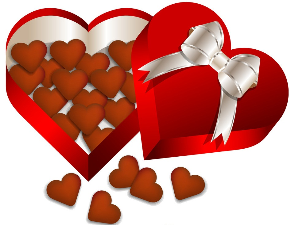 chocolate valentines day in heart gift box