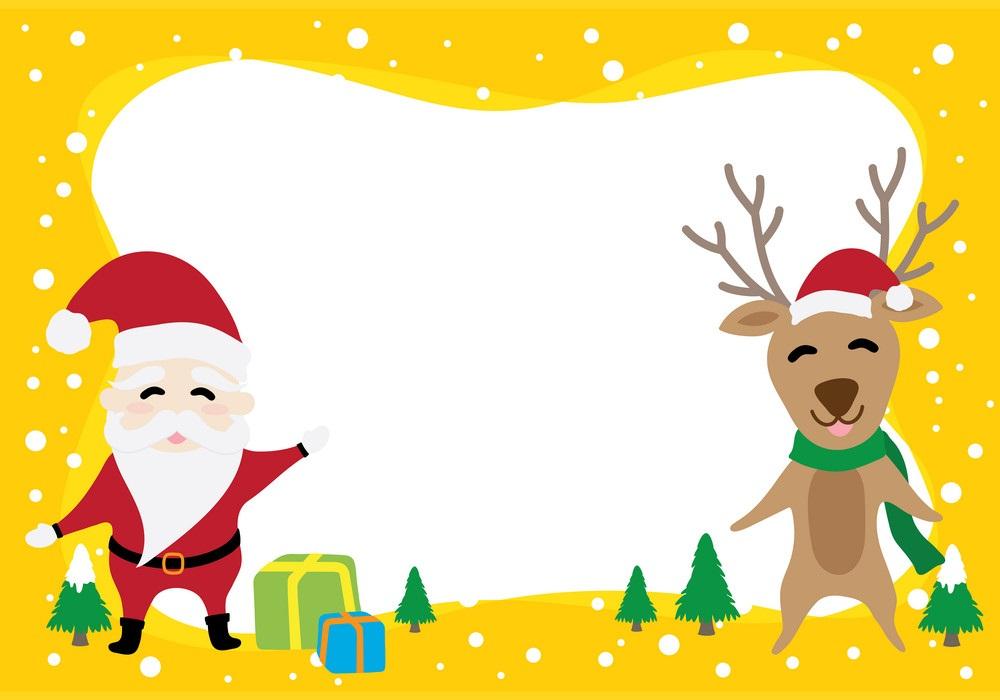christmas border with santa and reindeer