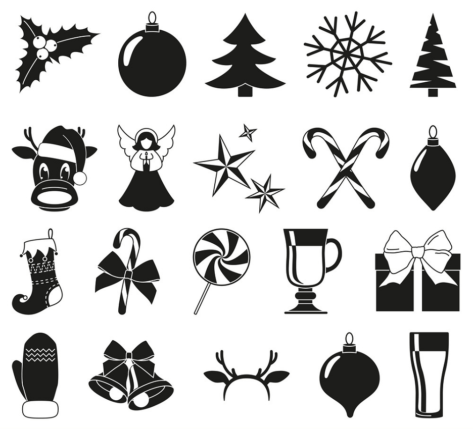 christmas clipart black and white icon