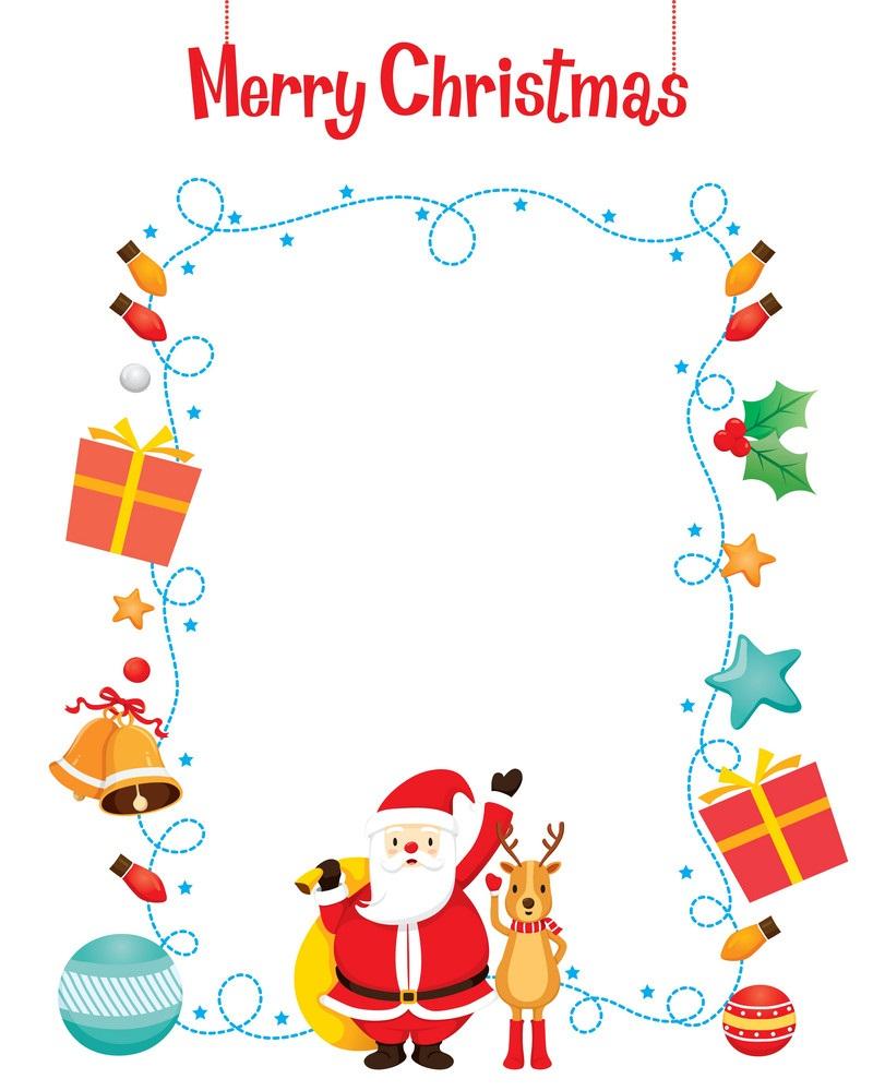 christmas santa and reindeer border