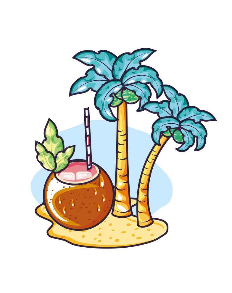 coconut cocktail with coconut trees