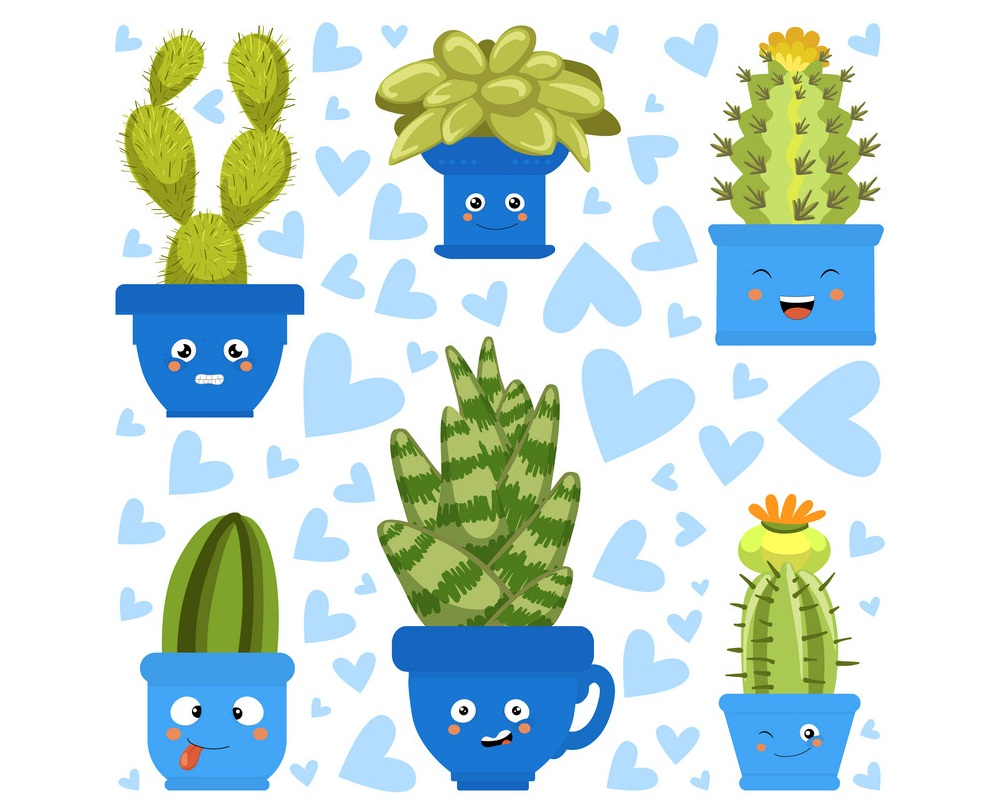 Collection of Cute Green Cactus and Succulent Plants in Pots with Happy Funny Faces
