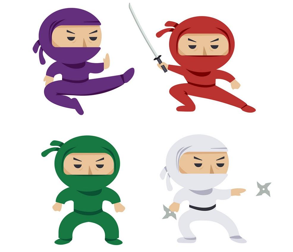 colorful ninja fighting pose