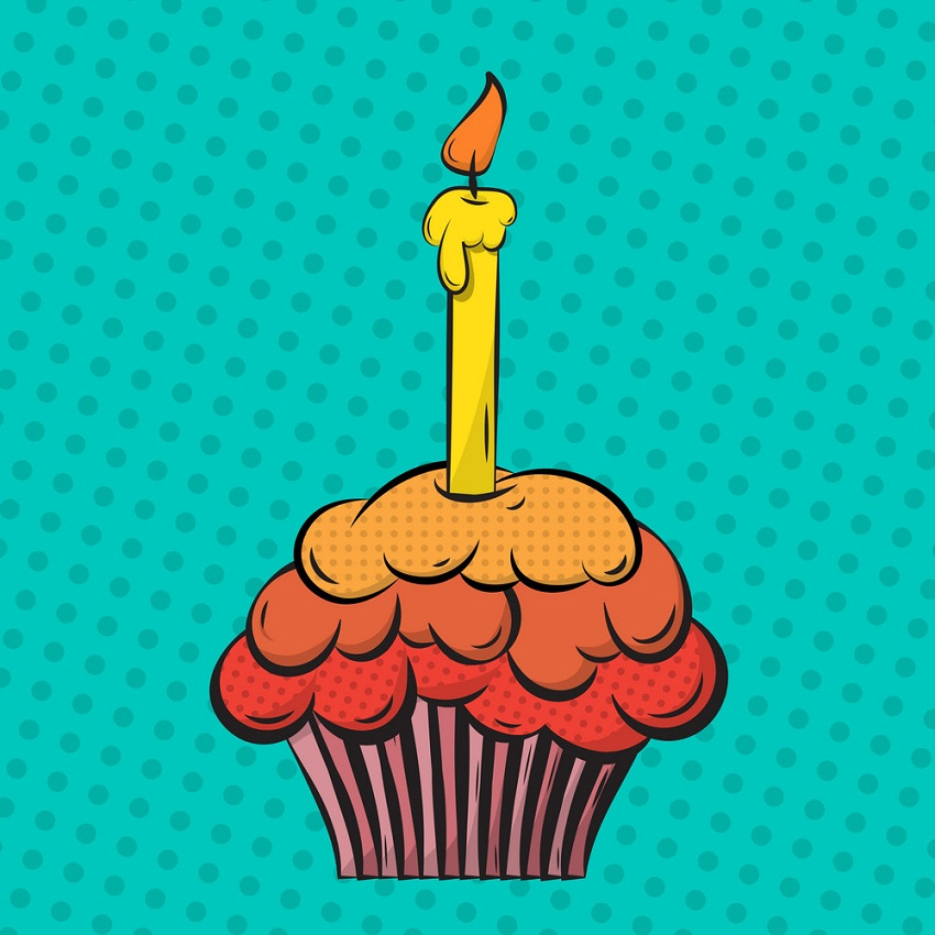 cupcake with a candle pop art