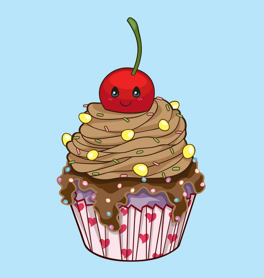 cupcake with cute cherry