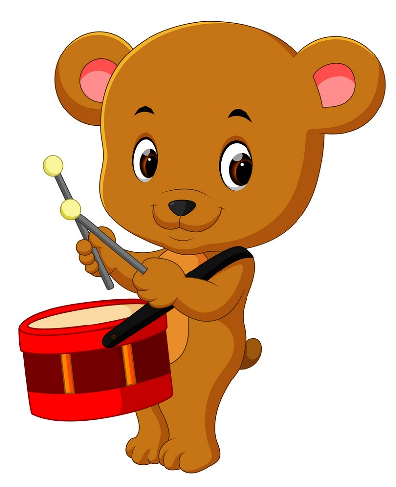 cute bear playing drum
