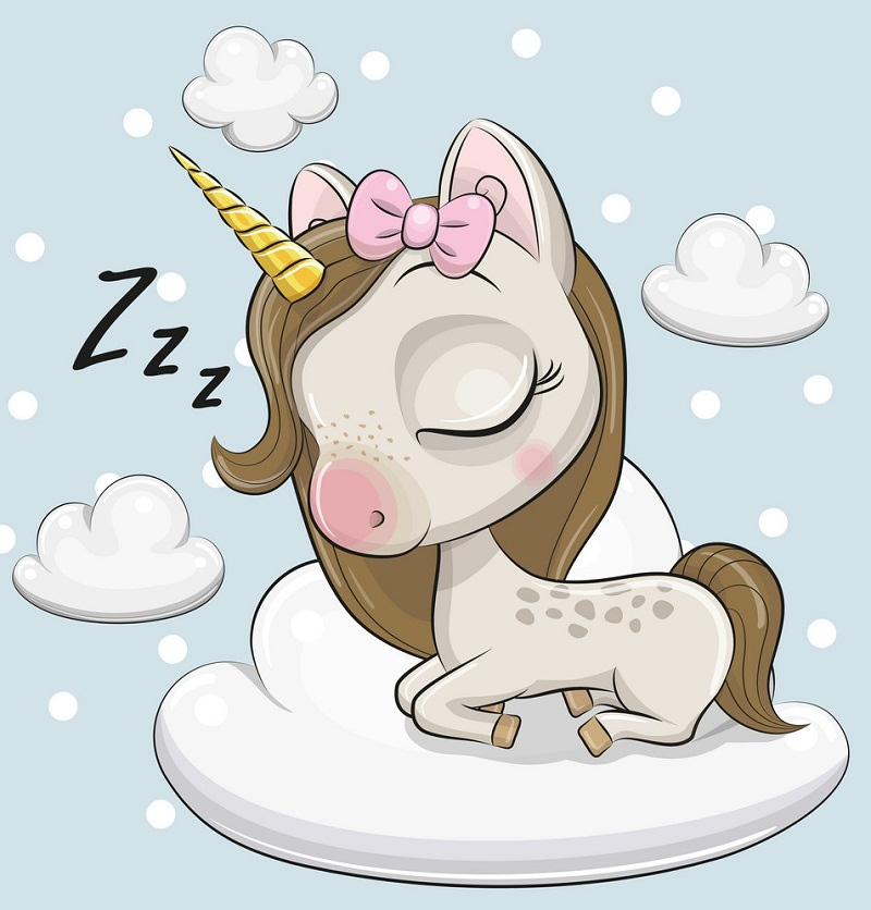 cute unicorn sleeping on cloud