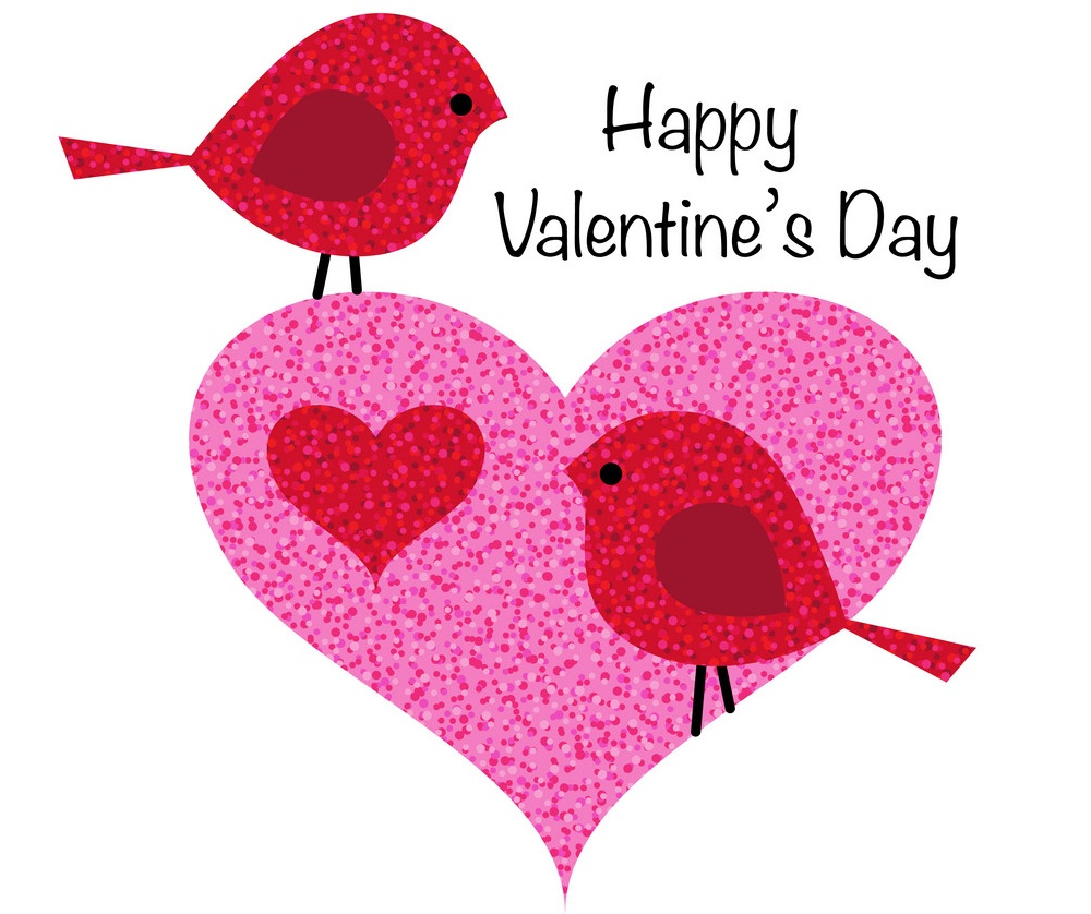 cute valentine birds in pink glitter heart