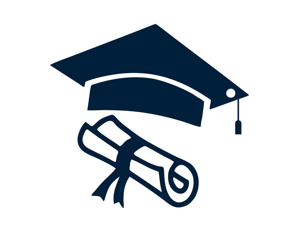 diploma with graduation cap icon
