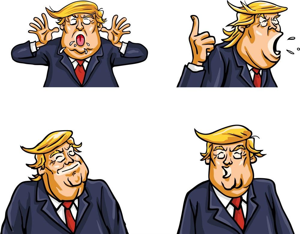 donald trump face expressions set