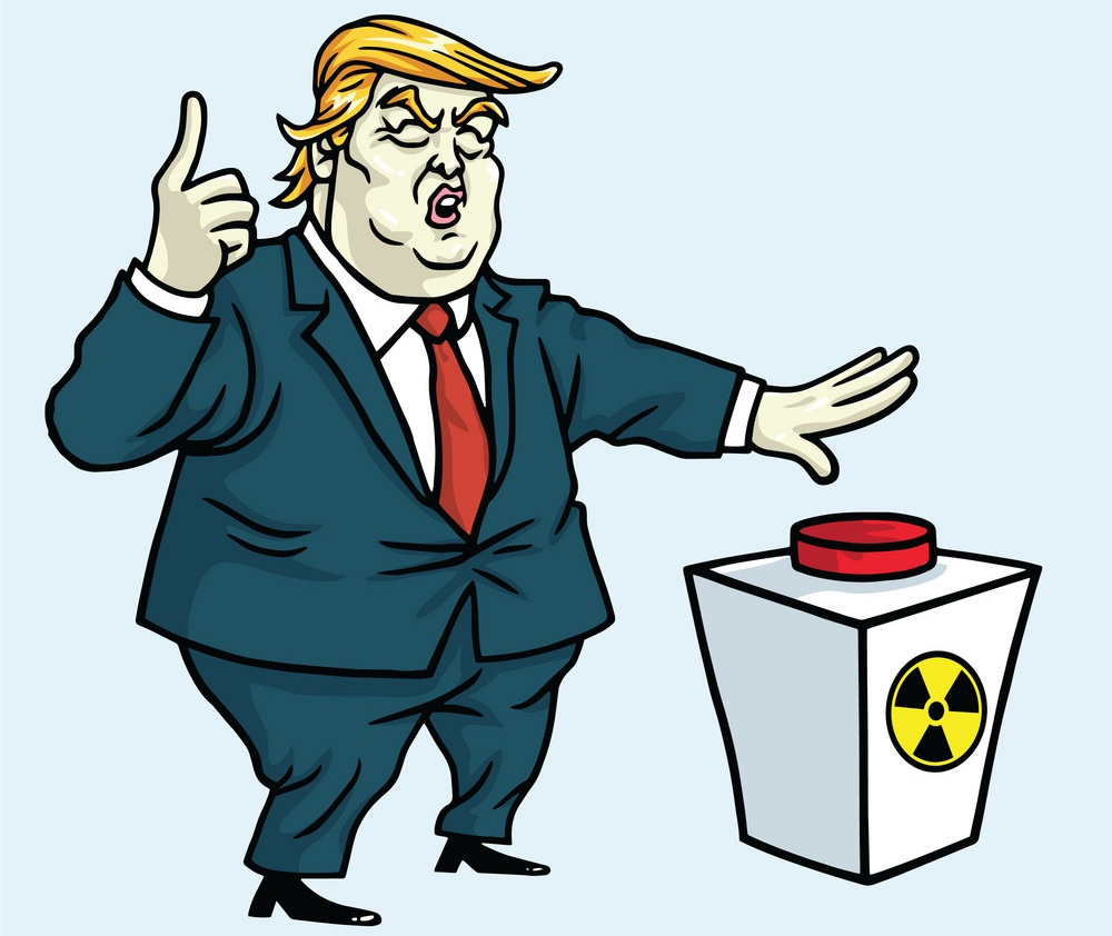donald trump shouting and push the red button