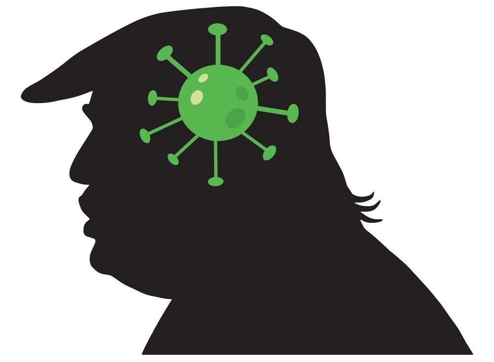 donald trump with virus covid-19 icon