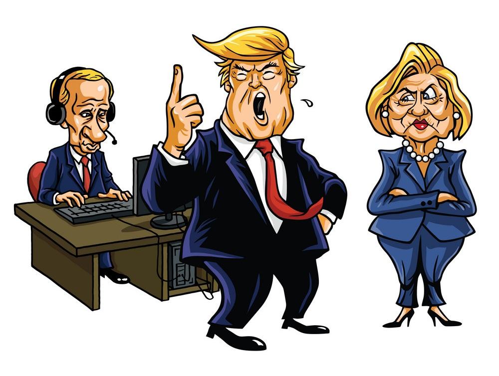 donald trump, vladimir putin and hillary clinton