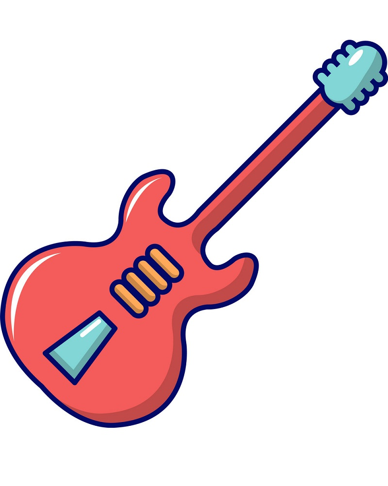 electric guitar icon cartoon style